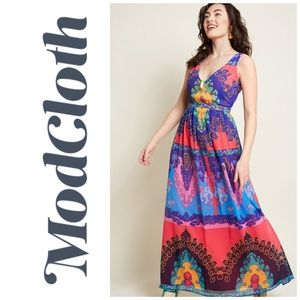 Modcloth Muster the Length Colorful Maxi Dress